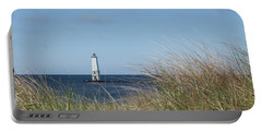 Portable Battery Charger featuring the photograph Frankfort North Breakwater Lighthouse by Fran Riley