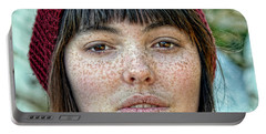 Freckle Face Closeup  Color Version Portable Battery Charger