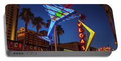 Portable Battery Charger featuring the photograph Freemont East District Neon Signs From The West At Dawn Wide by Aloha Art