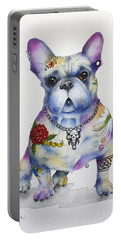 Portable Battery Charger featuring the painting French Bulldog Ozzie by Patricia Lintner