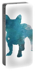 French Bulldog Silhouette Blue Kids Play Room Decor, Turquoise Frenchie Print Nursery Boy Room Art Portable Battery Charger