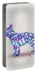 French Bulldog Watercolor Painting / Typographic Art Portable Battery Charger