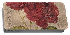 French Burlap Floral 3 Portable Battery Charger
