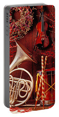 French Horn Christmas Still Life Portable Battery Charger