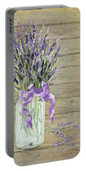 French Lavender Rustic Country Mason Jar Bouquet On Wooden Fence Portable Battery Charger