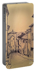 French Little Town Drawing Portable Battery Charger