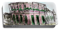Portable Battery Charger featuring the painting French Quarter by Monique Faella