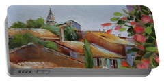 Portable Battery Charger featuring the painting French Village by Chris Hobel