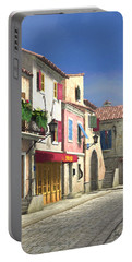 French Village Scene With Cobblestone Street Portable Battery Charger