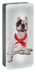 Portable Battery Charger featuring the digital art Frenchie Wordless by Rob Snow