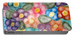 Fresh Flowers Portable Battery Charger by Paula Brown