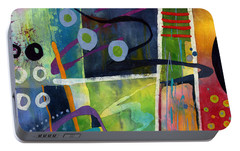 Portable Battery Charger featuring the painting Fresh Jazz In A Square by Hailey E Herrera