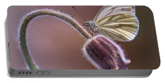 Fresh Pasque Flower And White Butterfly Portable Battery Charger by Jaroslaw Blaminsky