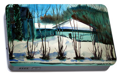Portable Battery Charger featuring the painting Fresh Snow Double Matted by Charlie Spear