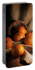 Portable Battery Charger featuring the photograph Fresh Tangerines In Brown Basket by Jaroslaw Blaminsky