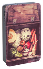 Fresh Vegetables In Wooden Box Portable Battery Charger by Jorgo Photography - Wall Art Gallery
