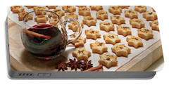 Freshly Baked Cheese Cookies And Hot Wine Portable Battery Charger