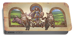 Freya Driving Her Cat Chariot - Triptic Garbed Version Portable Battery Charger