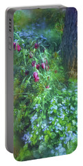 Portable Battery Charger featuring the photograph Fritillaria And Forget-me-nots  by Connie Handscomb