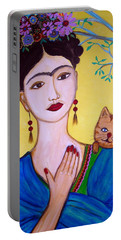 Portable Battery Charger featuring the painting Frida And Her Cat by Pristine Cartera Turkus