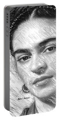 Portable Battery Charger featuring the painting Frida Drawing In Black And White by Rafael Salazar