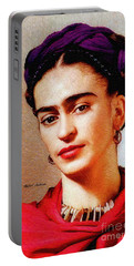 Portable Battery Charger featuring the painting Frida In Red by Rafael Salazar