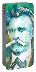 Friedrich Nietzsche Watercolor Portrait.1 Portable Battery Charger