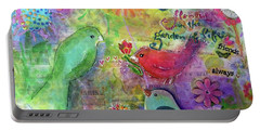 Portable Battery Charger featuring the painting Friends Always Together by Claire Bull