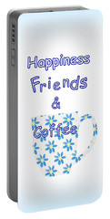 Friends And Coffee Portable Battery Charger by Kathleen Sartoris