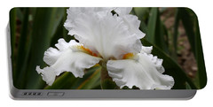 Frilly White Iris Flower Portable Battery Charger