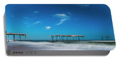Frisco Fishing Pier In North Carolina Panorama Portable Battery Charger