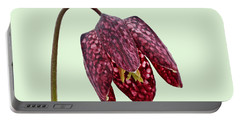 Fritillaria Meleagris - Green Background Portable Battery Charger