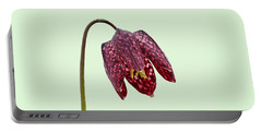 Fritillaria Meleagris Green Background Portable Battery Charger
