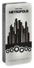 Portable Battery Charger featuring the painting Fritz Lang's Metropolis Alternative Minimalist Movie Poster by Inspirowl Design