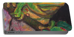 Portable Battery Charger featuring the painting Froggie by Karen Ilari