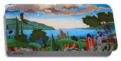 Portable Battery Charger featuring the painting From A High Place, Troubles Remain Small by Chholing Taha