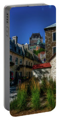 From Below Fairmont Le Chateau Frontenac Portable Battery Charger by Chris Bordeleau