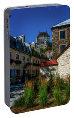 Portable Battery Charger featuring the photograph From Below Fairmont Le Chateau Frontenac by Chris Bordeleau