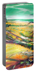 Portable Battery Charger featuring the painting From The Lawn Pandanus by Winsome Gunning