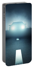 Front Car Lights At Night On Open Road Portable Battery Charger