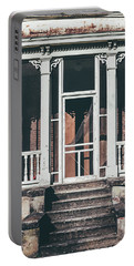 Portable Battery Charger featuring the photograph Front Door Of Abandoned Building by Kim Hojnacki