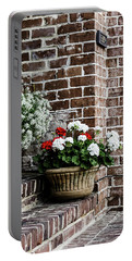 Portable Battery Charger featuring the photograph Front Porch With Flower Pots by Kim Hojnacki