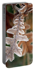 Frost Covered Oak Leaf Portable Battery Charger