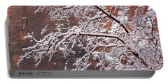 Frosted Branches Portable Battery Charger by Daniel Woodrum