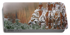 Frosted Cliffs In Zion Portable Battery Charger by Daniel Woodrum