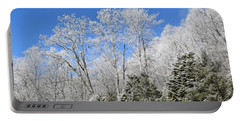 Frosted Trees Blue Sky 1 Portable Battery Charger