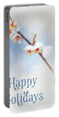 Frosted Witch Hazel Blossoms Holiday Card Portable Battery Charger