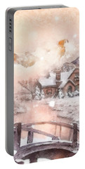 Portable Battery Charger featuring the painting Frosty Creek by Mo T