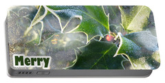 Portable Battery Charger featuring the photograph Frosty Holly by LemonArt Photography