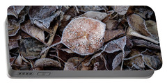 Frosty Leaves In A Small Pile Portable Battery Charger